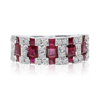 14k White Gold Ruby and Diamond Wide Band