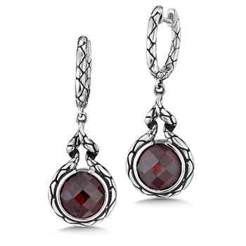 Sterling silver and red garnet earrings