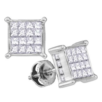 14kt White Gold Womens Princess Diamond Cluster Stud Earrings 1.00 Cttw