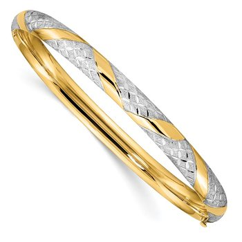 14k w/White Rhodium Diamond-cut Criss-Cross Textured Hinged Bangle