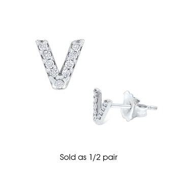 "Diamond Single Initial ""V"" Stud Earring (1/2 pair)"