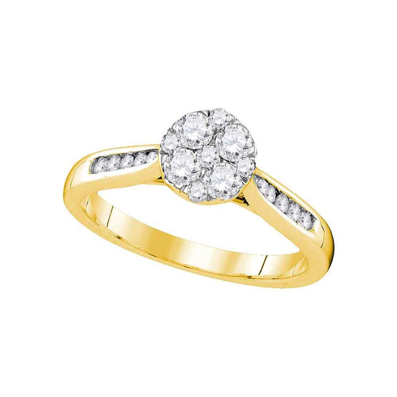 Gold-N-Diamonds, Inc. (Atlanta) 14kt Yellow Gold Womens Round Diamond Cluster Bridal Wedding Engagement Ring 1/2 Cttw