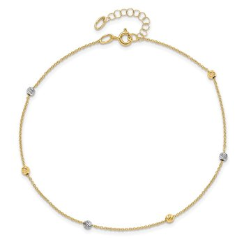 Leslie's 14k Two-Tone Polished D/C with 1in ext. Anklet