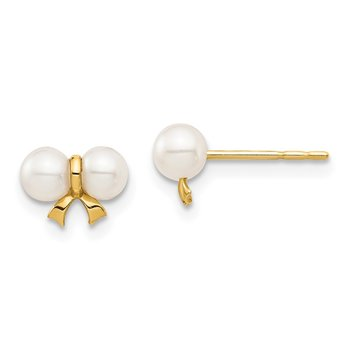 14k Madi K 3-4mm White Round FW Cultured Pearl Bow Post Earrings