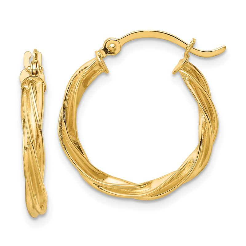 Quality Gold 14K Polished Twisted 2.5mm Hoop Earrings