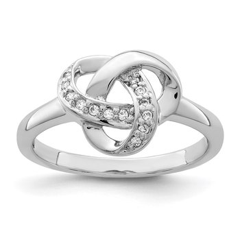 Sterling Silver Rhodium-plated CZ Knot Ring