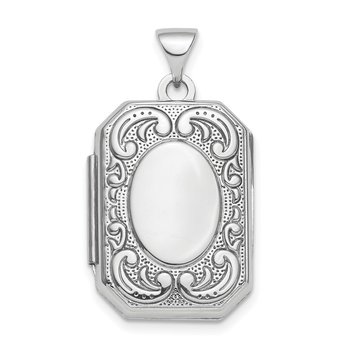 Sterling Silver Rhodium-plated Polished Fancy Scroll 21mm Octagonal Locket