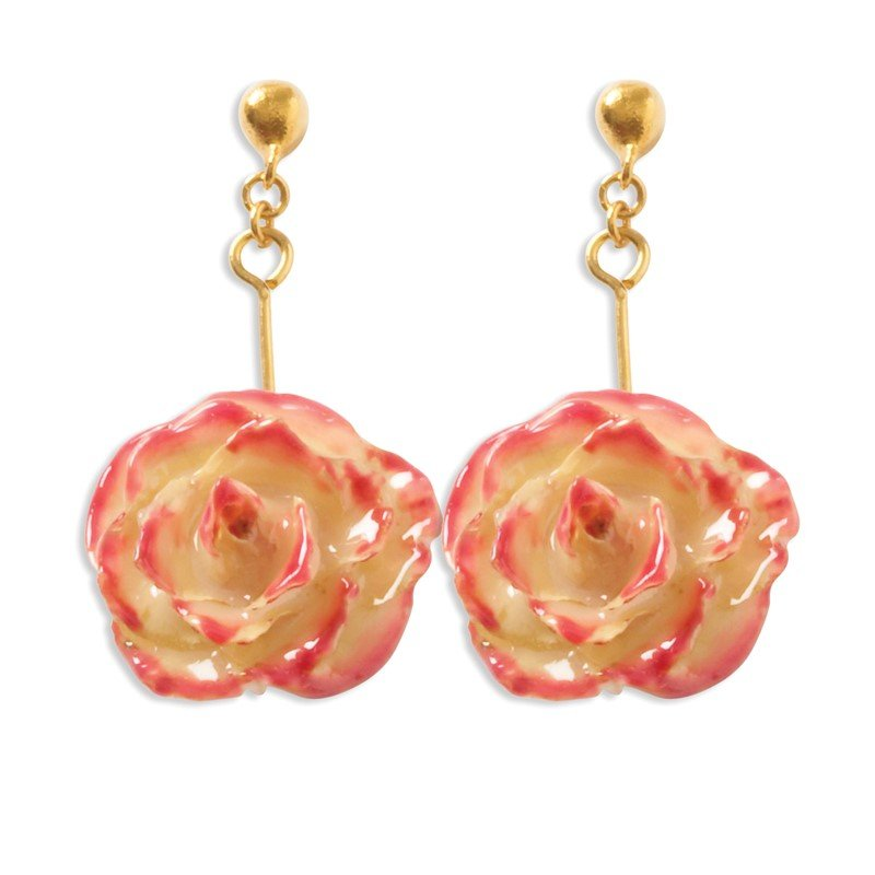 Quality Gold Lacquer Dipped Cream & Fuchsia Rose Dangle Earrings