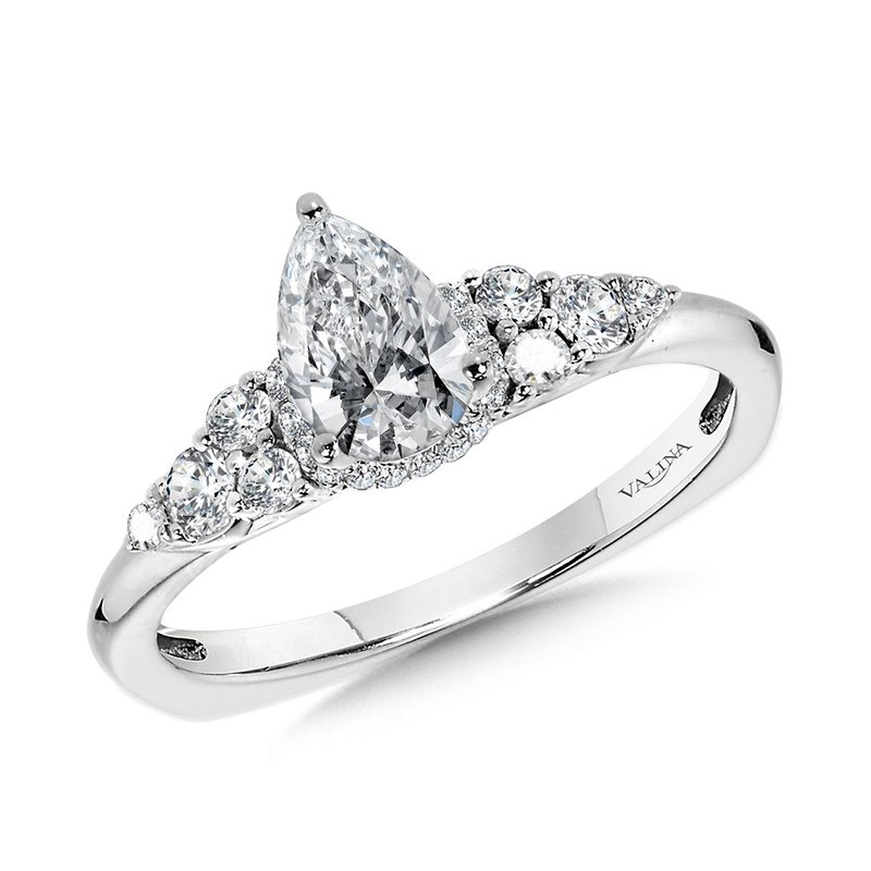 Valina Tapered Pear Diamond Engagement Ring