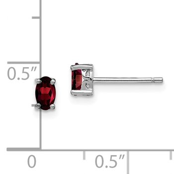 Sterling Silver Rhodium-plated 5x3mm Oval Garnet Post Earrings