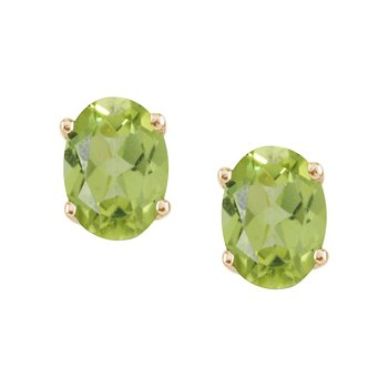14k Yellow Gold Large 6x8 mm Oval Peridot Studs