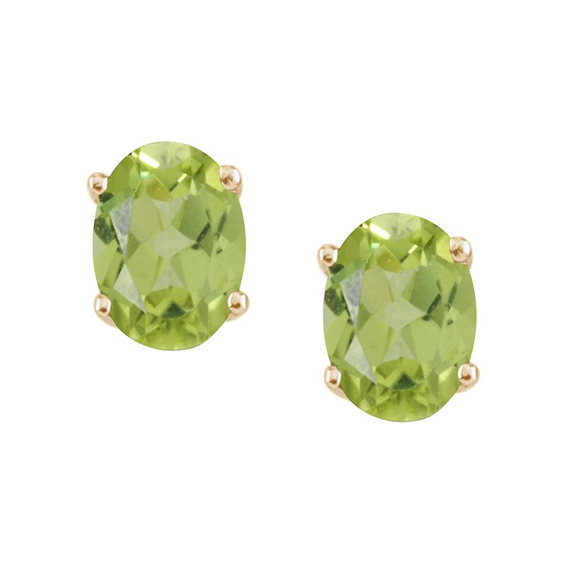 Color Merchants 14k Yellow Gold Large 6x8 mm Oval Peridot Studs
