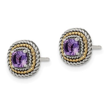 Sterling Silver w/ 14K Accent Amethyst Square Post Earrings
