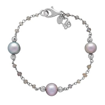 Honora Sterling Silver 8-9mm Gray Ringed Freshwater Cultured Pearl Faceted Labradorite Tin Cup Bracelet