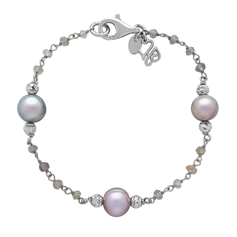 Honora Honora Sterling Silver 8-9mm Gray Ringed Freshwater Cultured Pearl Faceted Labradorite Tin Cup Bracelet