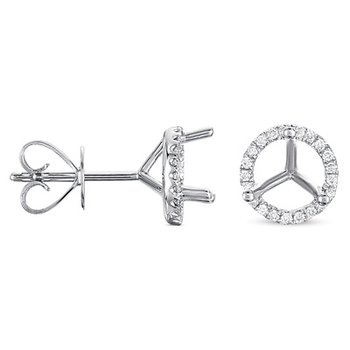 Three Prong Earring Setting 2.00ct TW