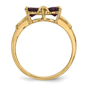 14k Gold Polished Rhodolite Bow Ring