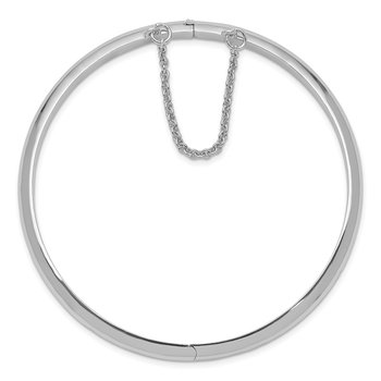 Sterling Silver Rhodium-plated 5mm w/Chain Hinged Bangle
