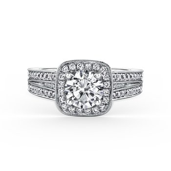Halo Modern Baguette Diamond Engagement Ring