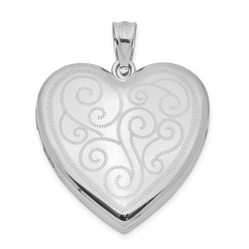Sterling Silver Rhodium-plated 24mm Swirl Design Heart Locket