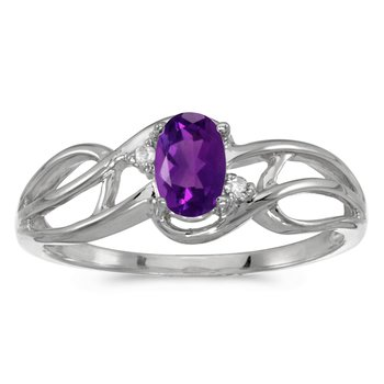 14k White Gold Oval Amethyst And Diamond Curve Ring