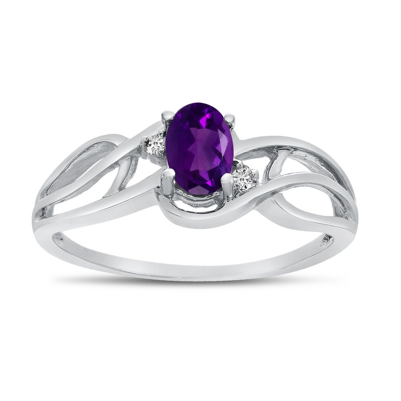 Color Merchants 14k White Gold Oval Amethyst And Diamond Curve Ring