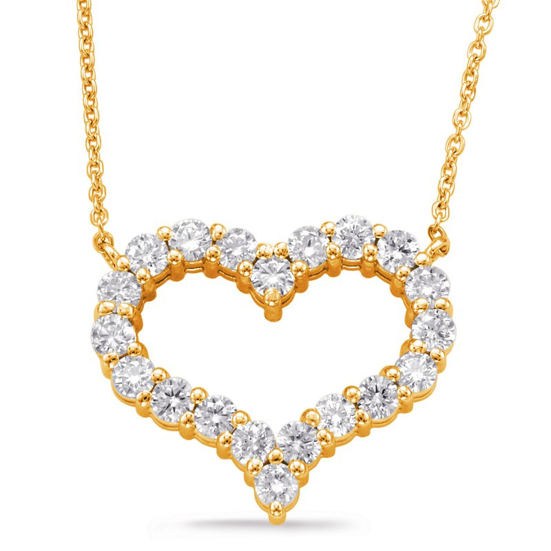 S. Kashi  & Sons Yellow Gold Diamond Heart Necklace