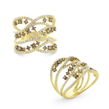 Intertwining Champagne & White Diamond Ring Set in 14 Kt. Gold