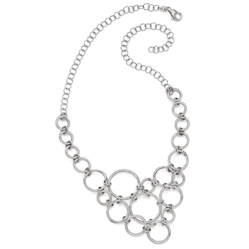 Leslie's Leslie's Sterling Silver Polished & Diamond-cut Fancy Link Necklace