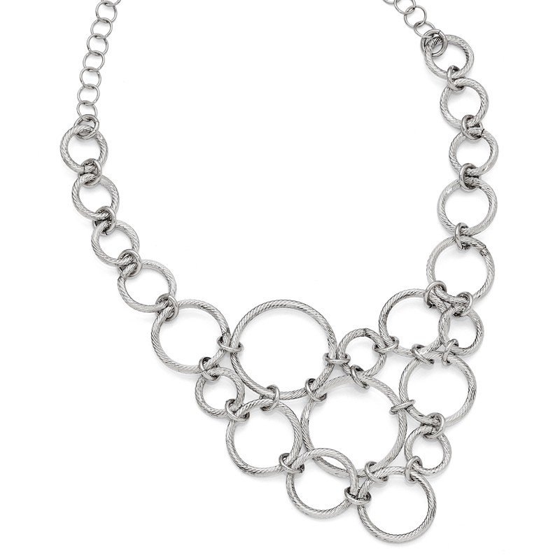 Leslie's Italian Gold Leslie's Sterling Silver Polished & Diamond-cut Fancy Link Necklace