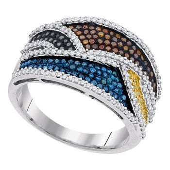 10kt White Gold Womens Round Multicolor Enhanced Diamond Fashion Ring 3/4 Cttw