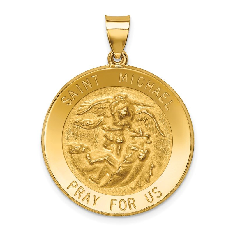 Quality Gold 14k Polished and Satin St Michael Medal Hollow Pendant