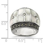 Quality Gold Sterling Silver Marcasite & Mother of Pearl Ring