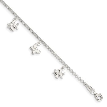 Sterling Silver Polished Butterflies & Bumble Bee Anklet