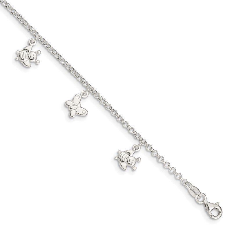 Quality Gold Sterling Silver Polished Butterflies & Bumble Bee Anklet