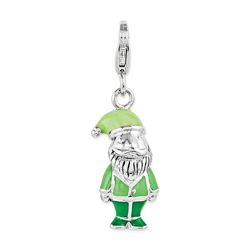 Quality Gold Sterling Silver Enamel Dwarf Gnome w/ Lobster Clasp Charm