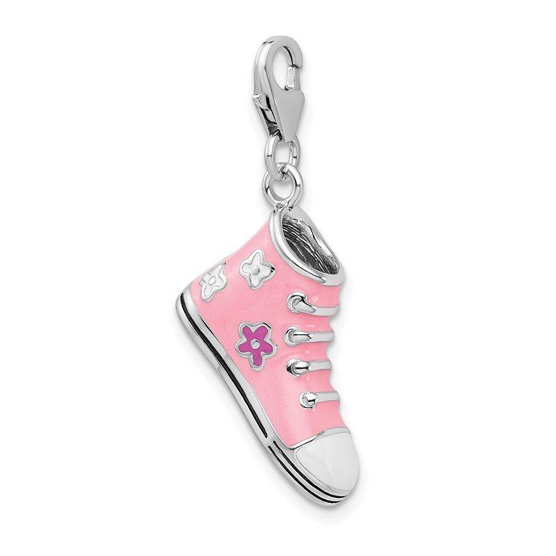 Quality Gold SS RH 3-D Enameled Pink High Top Sneaker w/Lobster Clasp Charm