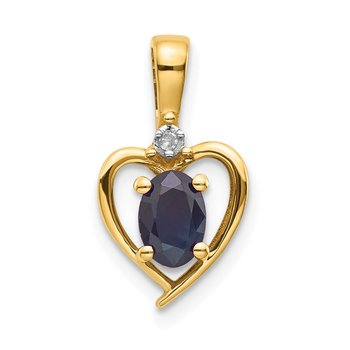 14k Sapphire and Diamond Heart Pendant