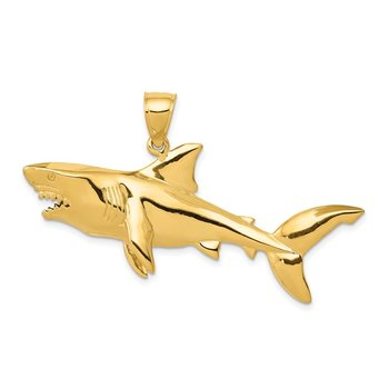14K Polished 3-D Shark Pendant