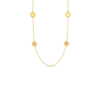 Necklace With Alternating Diamond Stations &Ndash; 18K Yellow Gold
