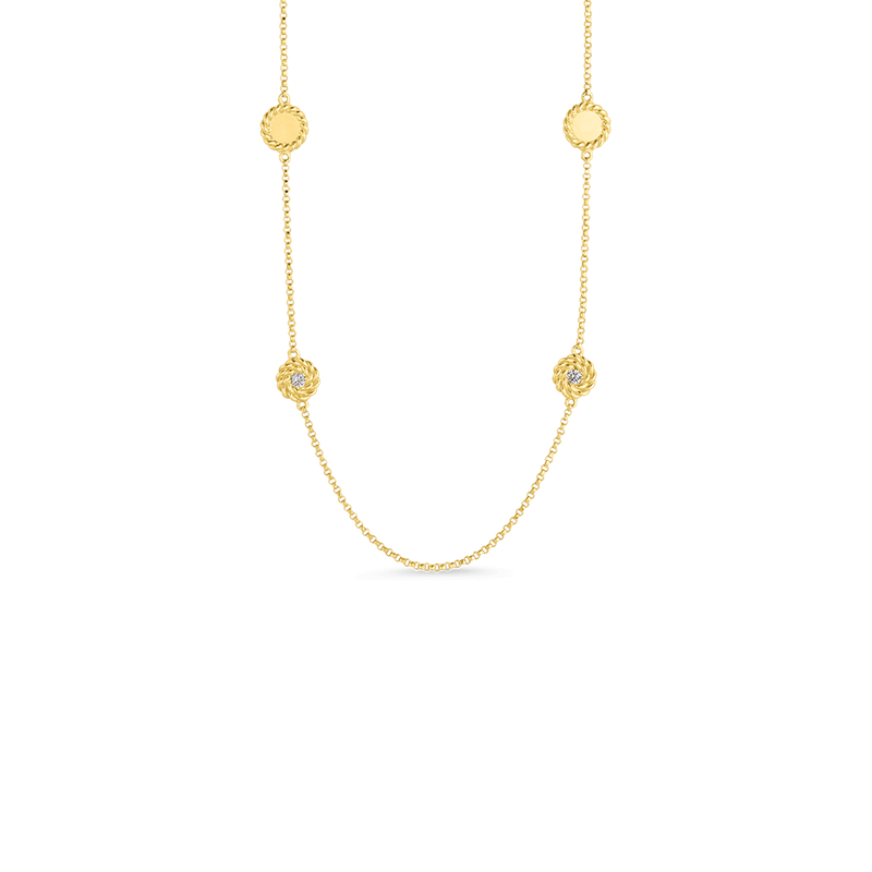 Roberto Coin Necklace With Alternating Diamond Stations &Ndash; 18K Yellow Gold