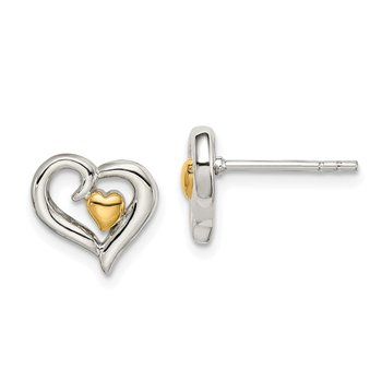 Sterling Silver Gold-plated Two-Heart Post Earrings