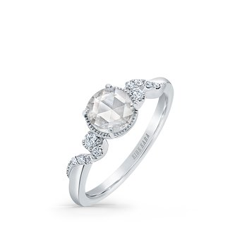 Rose Cut Diamond Swirl Petite Engagement Ring