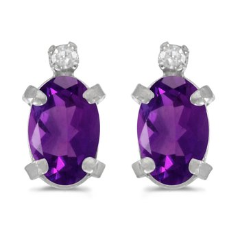 Sterling Silver Oval Amethyst and Diamond Earrings