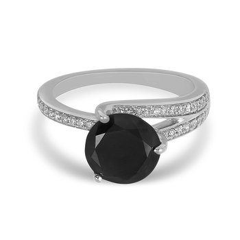 14K WG Diamond Engagement Ring Black Dia Center 3.0 Ct