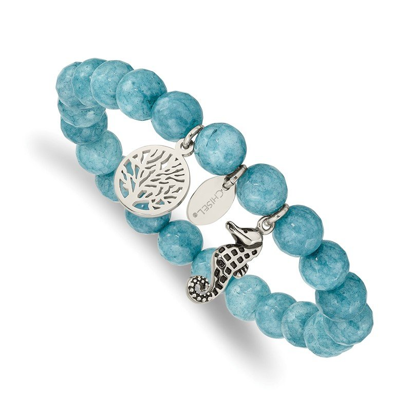 Chisel Stainless Steel Antiqued & Polished Seahorse Blue Dyed Jade Stretch Bracele