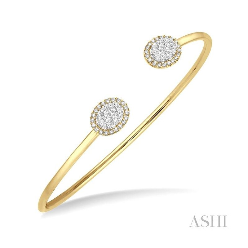ASHI oval shape lovebright essential cuff open diamond bangle