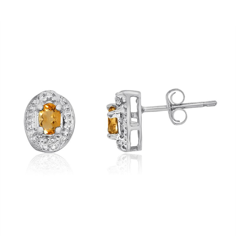 Color Merchants 14k White Gold Citrine Earrings with Diamonds