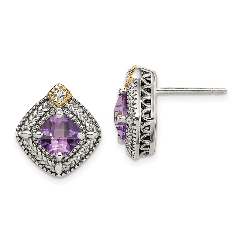 Quality Gold Sterling Silver w/ 14K Accent Amethyst & Diamond Post Earrings