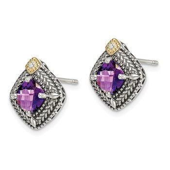 Sterling Silver w/ 14K Accent Amethyst & Diamond Post Earrings